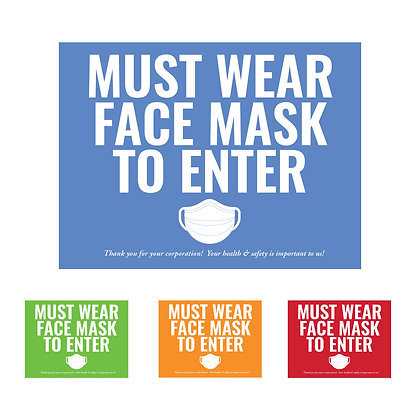 """""Must Wear Face Mask To Enter"" Cling Sign: packages of 5, 10 or 25"