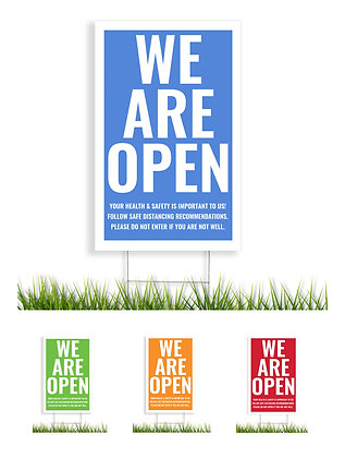 """We Are Open"" COVID-19 Stake Sign - package of 5, 10, or 25"