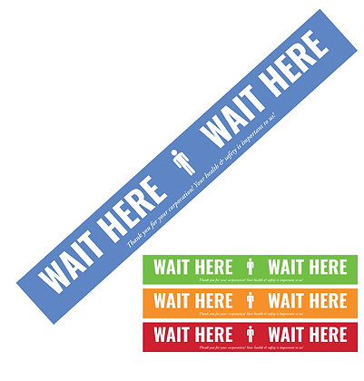 """Wait Here"" 29"" Strip Floor Graphic, package of 5, 10, or 25"