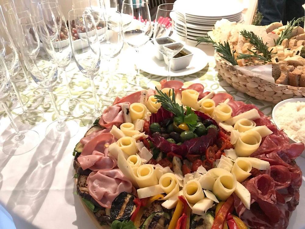 Sharing antipasto platter