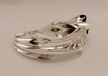 Silver Peridot and Amethyst Lily Bangle.