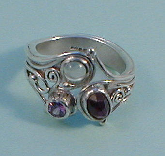 Silver Moonstone, Garnet and Amethyst Ri
