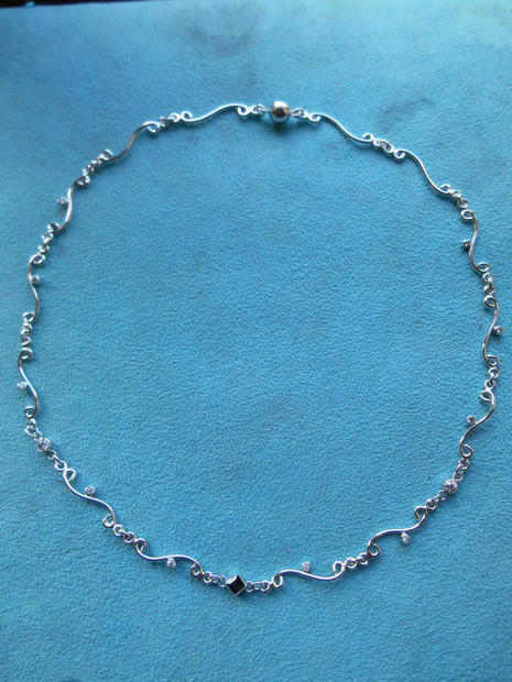 Silver Diamond and Sapphire Necklace 1.j