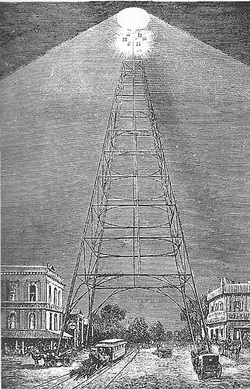 Electric light tower in San Jose, California