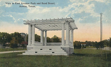 Old postcard of Wooldridge Park with a moonlight tower in the background