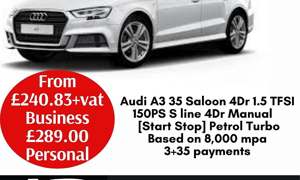 Audi A3 35 Saloon 4Dr 1.5 TFSI 150PS S line 4Dr Manual [Start Stop] Petrol Turbo