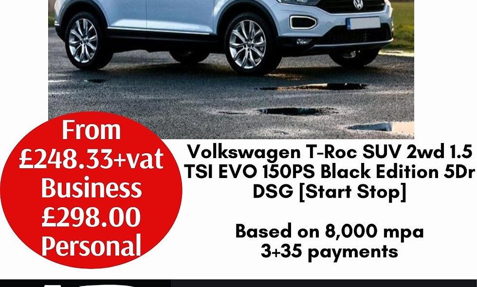 Volkswagen T-Roc SUV 2wd 1.5 TSI EVO 150PS Black Edition 5Dr DSG [Start Stop]