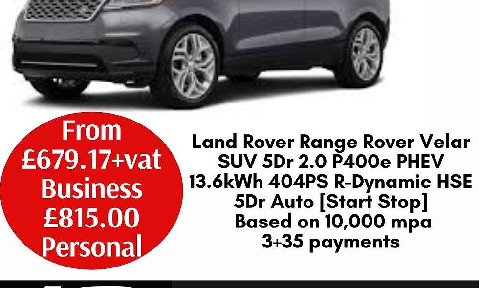 Land Rover Range Rover Velar SUV 5Dr 2.0 P400e PHEV 13.6kWh 404PS R-Dynamic HSE