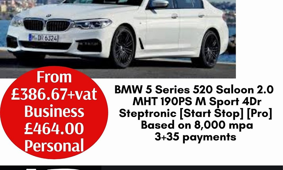 BMW 5 Series 520 Saloon 2.0 d MHT 190PS M Sport 4Dr Steptronic [Start Stop] [Pro