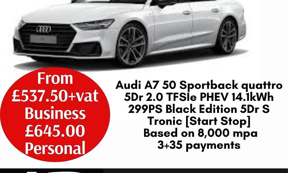 Audi A7 50 Sportback quattro 5Dr 2.0 TFSIe PHEV 14.1kWh 299PS Black Edition 5Dr