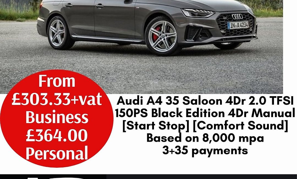 Audi A4 35 Saloon 4Dr 2.0 TFSI 150PS Black Edition 4Dr Manual [Start Stop] [Comf