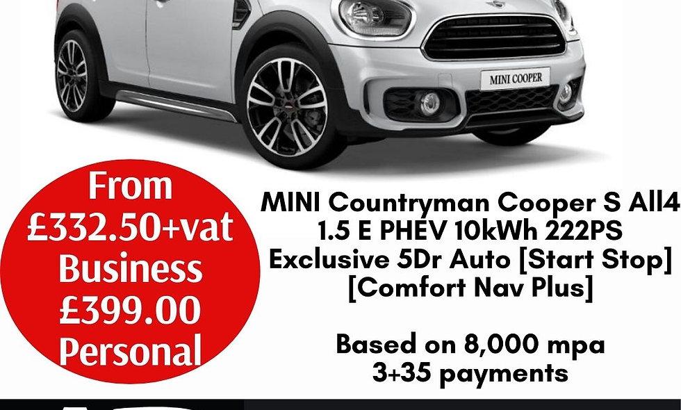 MINI Countryman Cooper S All4 1.5 E PHEV 10kWh 222PS Exclusive 5Dr Auto [Start S