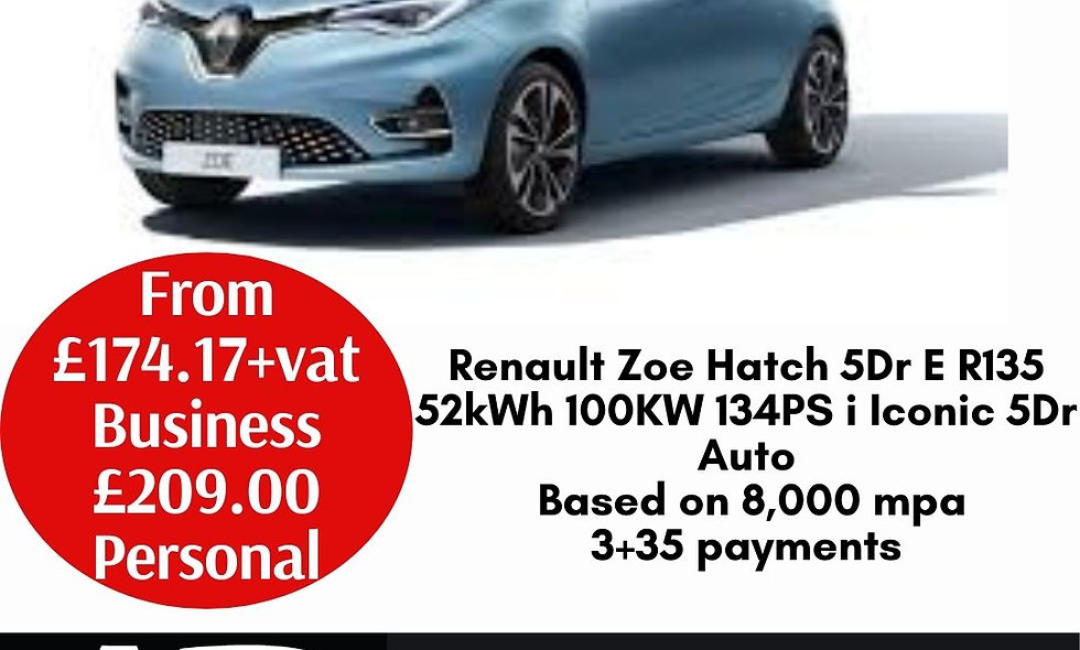 Renault Zoe Hatch 5Dr E R135 52kWh 100KW 134PS i Iconic 5Dr Auto