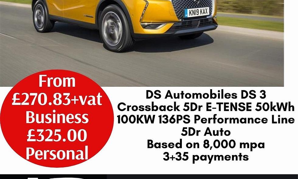 DS Automobiles DS 3 Crossback 5Dr E-TENSE 50kWh 100KW 136PS Performance Line 5Dr