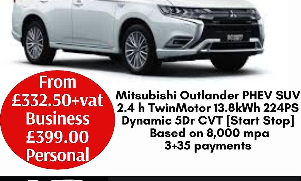 Mitsubishi Outlander PHEV SUV 2.4 h TwinMotor 13.8kWh 224PS Dynamic 5Dr CVT [Sta