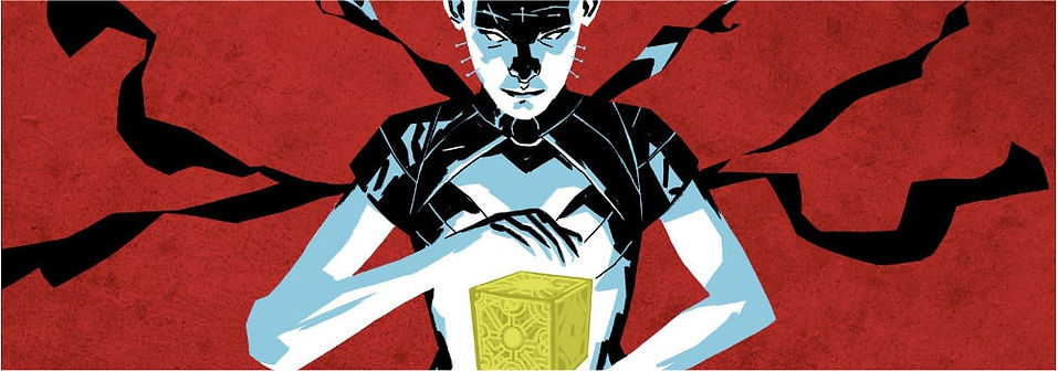 Graphic showing female coenobite holding a Lament Configuration puzzle box.