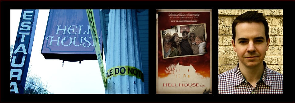 Graphic with photo of Stephen Cognetti, poster for Hell House LLC and stills from the film.