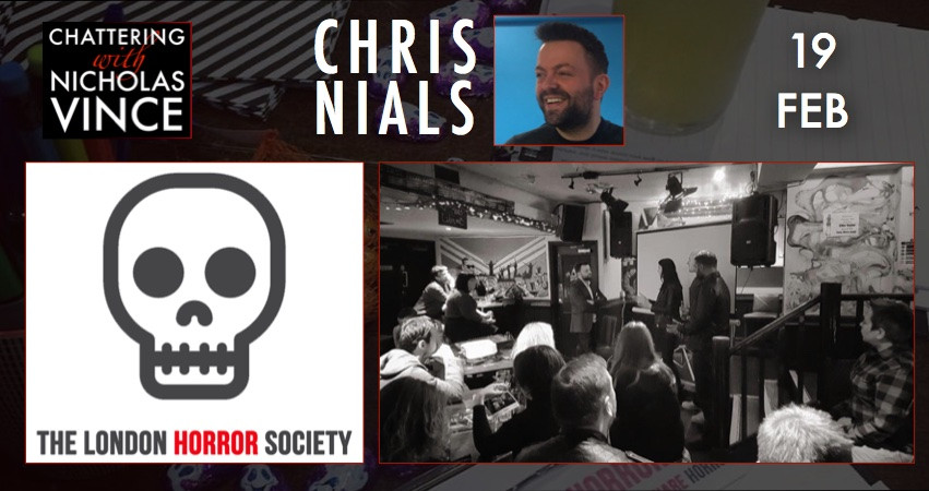 Photo of Chris Nials with London Horror Society logo