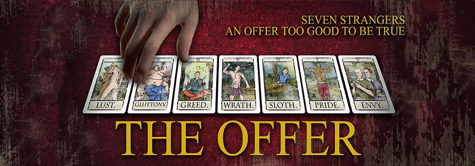 Poster for The Offer featuring members of the cast and playing cards showing 7 deadly sins.