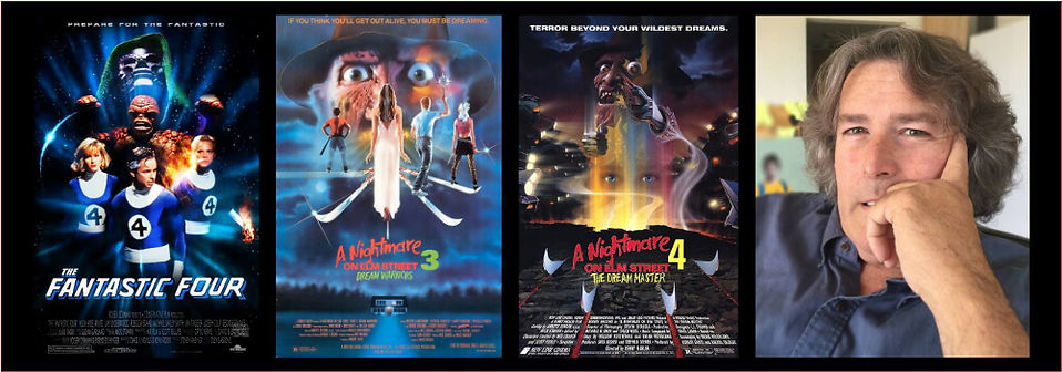 Graphic for Chattering with Mick Strawn showing posters for Nightmare on Elm Street 3 and 4, and Roger Corman's The Fantastic Four