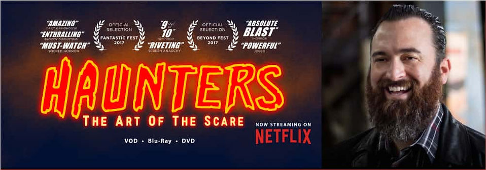 Graphic for Chattering with Jon Schnitzer showing portrait of Jon and logo for 'Haunters: The Art of the Scare'.
