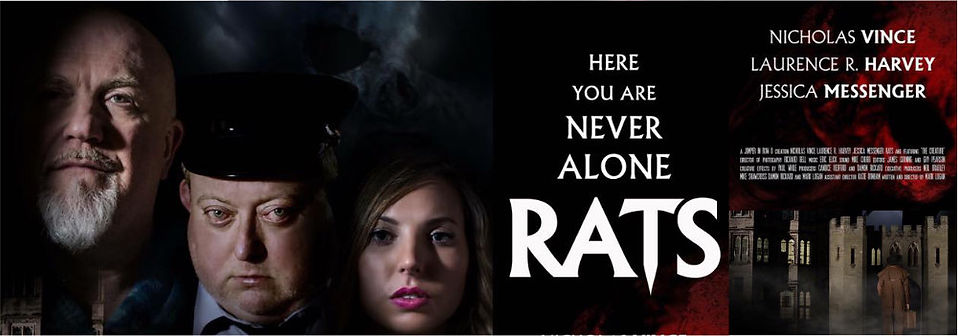 Poster for Rats showing stars Nicholas Vince, Lawrence Harvey and Jessica Messenger.