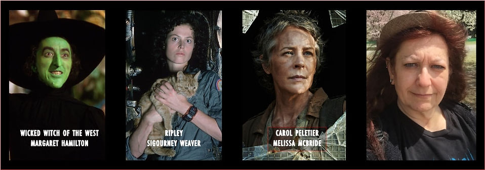 Graphic with photo of Shar Mayer and 3 women of horror, Margaret Hamilton, Sigourney Weaver and Melissa McBride