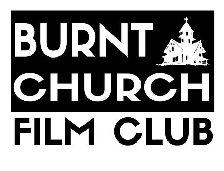 Logo for Burnt Church Film Club. Black and white lettering with silhouette of church.