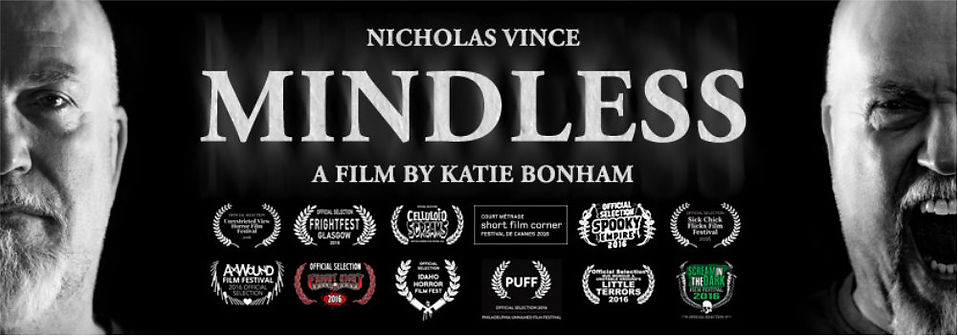 Poster for Mindless showing Nicholas Vince screaming and sombre.