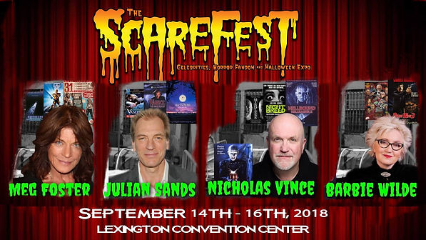 Portraits of Meg Foster, Julian Sands, Nicholas Vince and Barbie Wilde. Above them, The Scarefest. Below, the dates of the event 14th to 16th September.