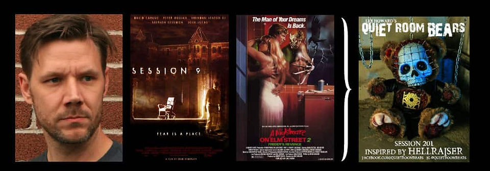 Graphic for Chattering with Lee Howard, showing Lee and posters for Nightmare on Elm Street 2, Session 9 and an example of a Quiet Room Bear