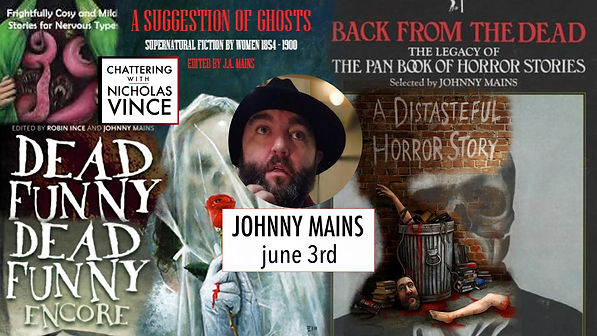 Graphic for Johnny Mains. Centre is photo of Johnny Mains, a bearded man in a fedora hat.