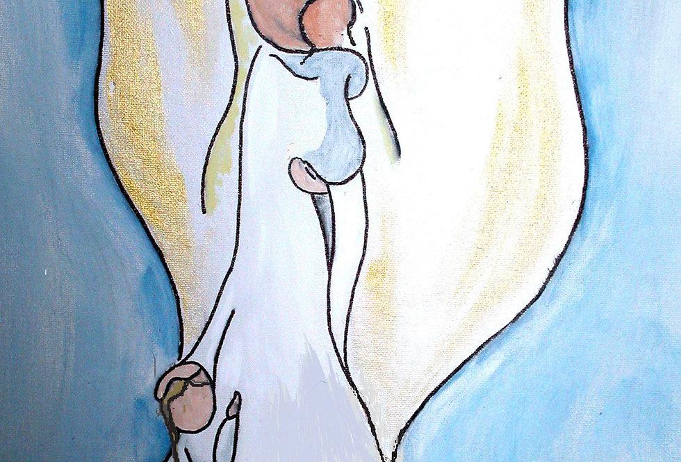 Mini-Print: Angel  w/ 2 children
