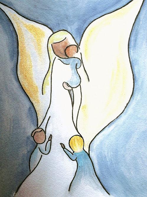 Mini-Print: Angel w/ 3 Children