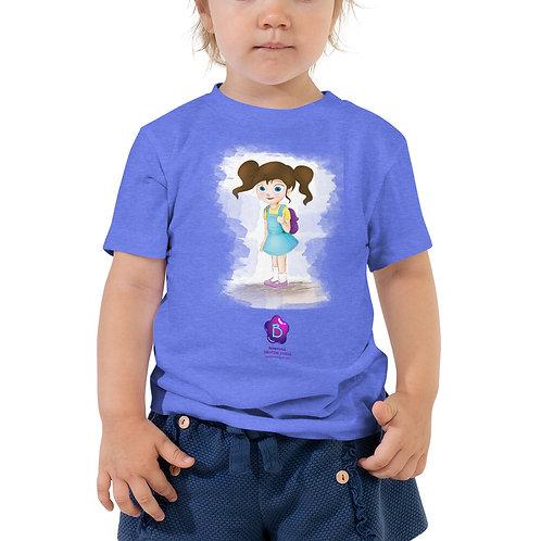 Cute School Girl Character Cartoon Toddler Short Sleeve Tee