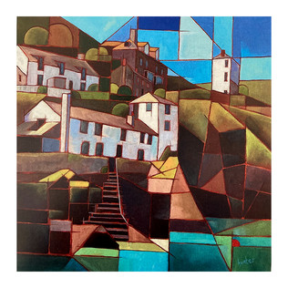 Cubist Card - Port Isaac