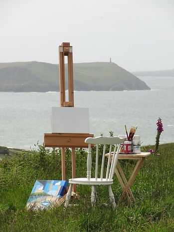 Plein air paintings specific to Cornwall's dramatic coastlines. A day out with an easel, canvas, brushes and paint from the cliffs at Polzeath.