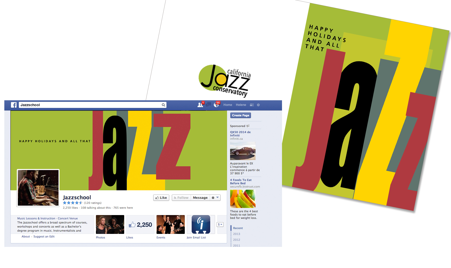 Jazz Conservatory Holiday Card & FB