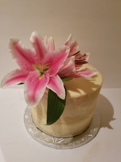 Semi Naked Cake with Lillies