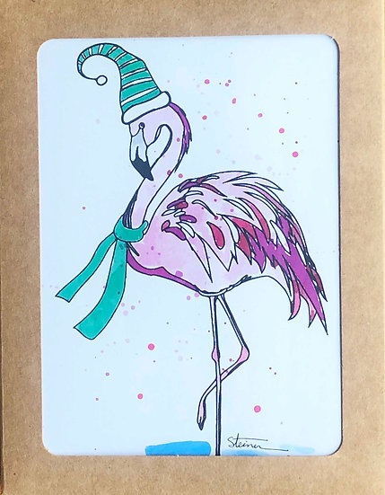Festive Flamingos Blank Note Cards
