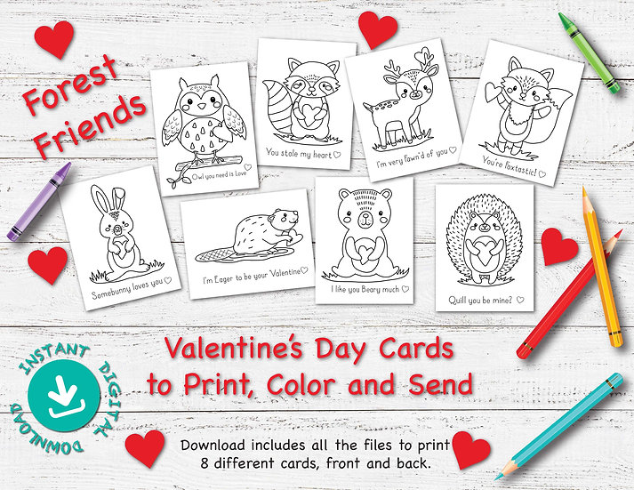 Forest Friends - Valentine's Day Cards to Download and Print