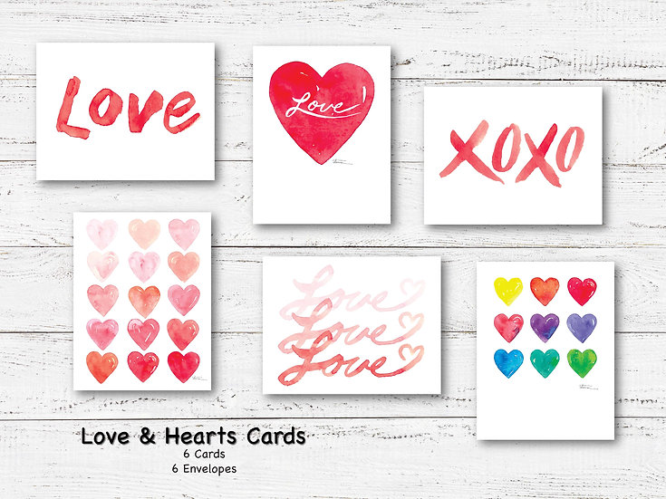 Love & Hearts Blank Note Card Pack