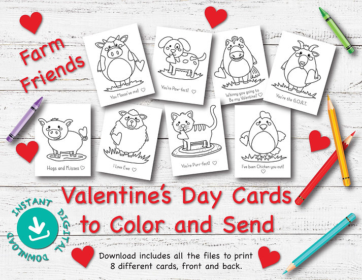Farm Friends - Valentine's Day Cards to Download and Print
