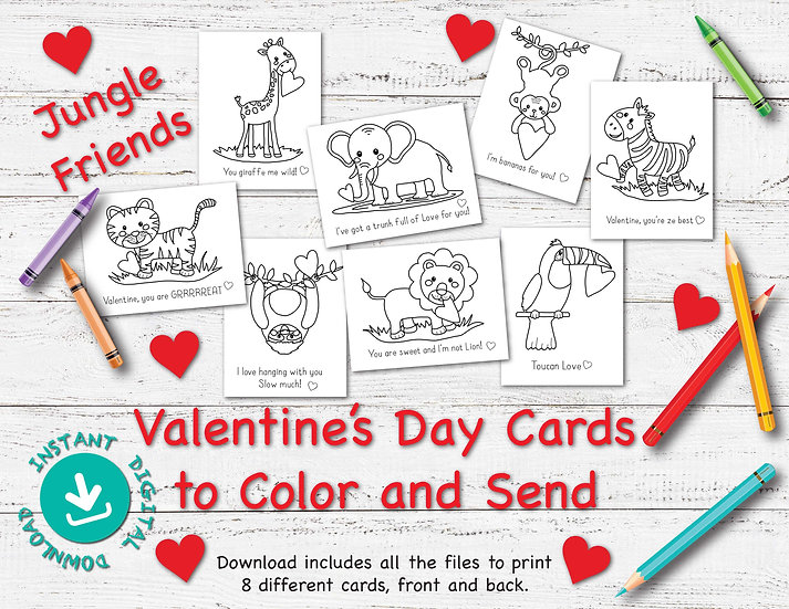 Jungle Friends - Valentine's Day Cards to Download and Print