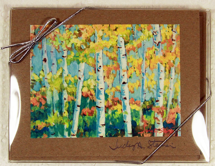 Birch Trees Blank Note Card Pack - Kraft
