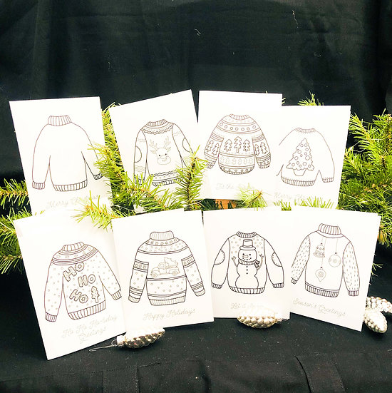 Ugly Christmas Sweater Cards to Color, Series II