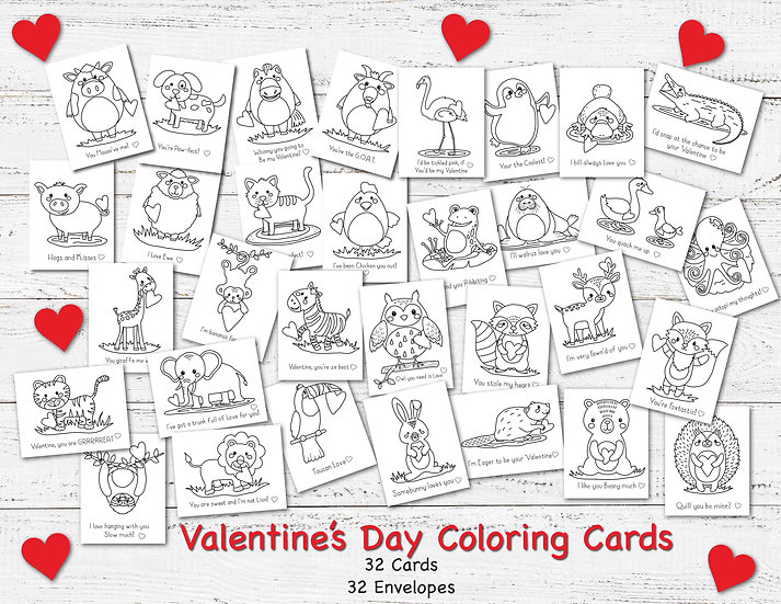All 32 Animal Friends Valentine's Day Cards to Color and Send