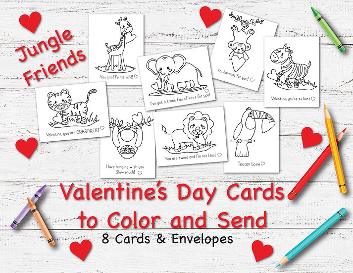 Jungle Friends - Valentine's Day Cards to Color and Send