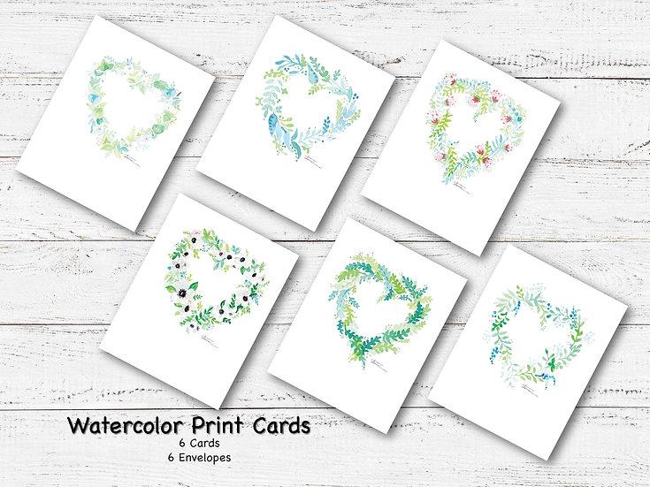 Heart Wreaths Blank Note Card Pack