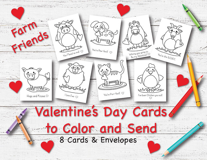 Farm Friends - Valentine's Day Cards to Color and Send